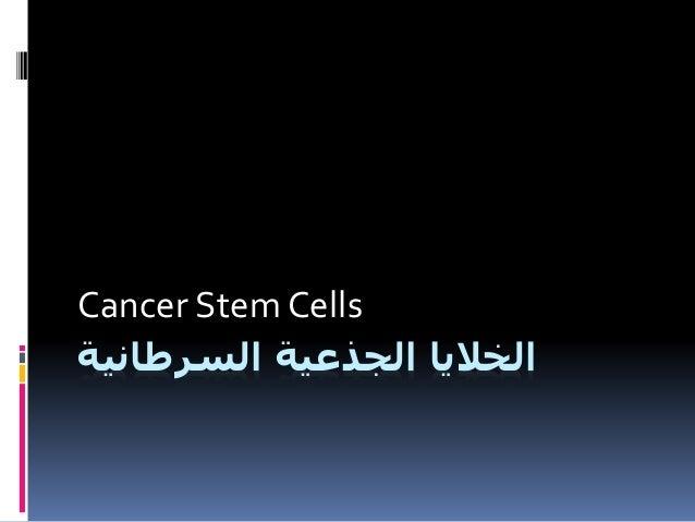السرطانية الجذعية الخاليا Cancer Stem Cells