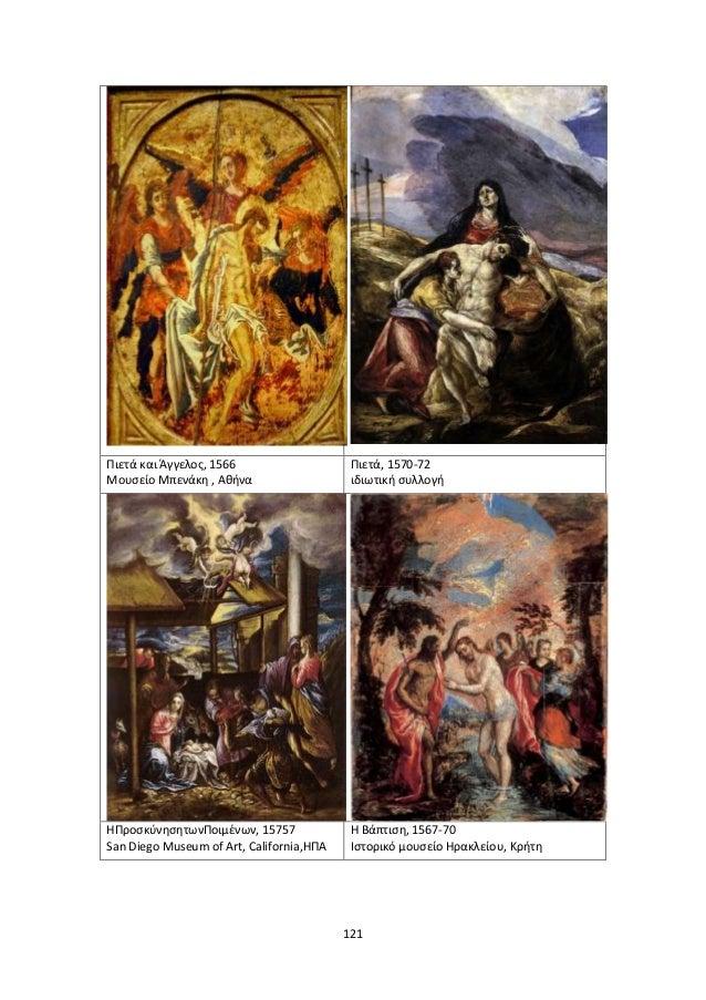 121 Πιετά και Άγγελοσ, 1566 Μουςείο Μπενάκθ , Ακινα Πιετά, 1570-72 ιδιωτικι ςυλλογι ΗΠροςκφνθςθτωνΠοιμζνων, 15757 San Dieg...