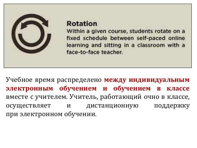 Учебное время распределено между индивидуальным электронным обучением и обучением в классе вместе с учителем. Учитель, раб...