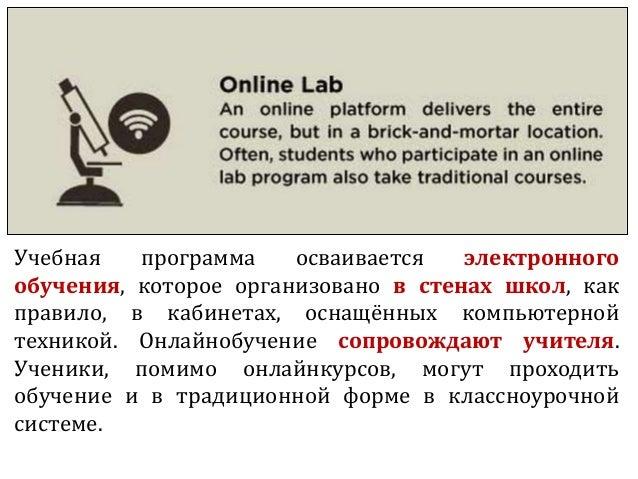 Учебная программа осваивается электронного обучения, которое организовано в стенах школ, как правило, в кабинетах, оснащён...