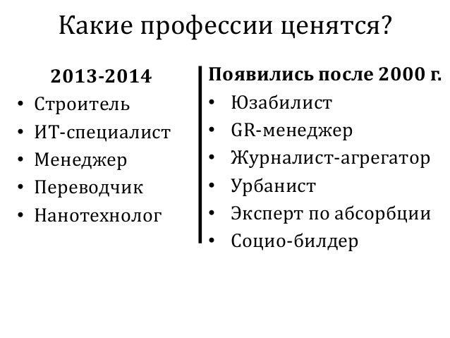 Какие профессии ценятся? 2013-2014 • Строитель • ИТ-специалист • Менеджер • Переводчик • Нанотехнолог Появились после 2000...