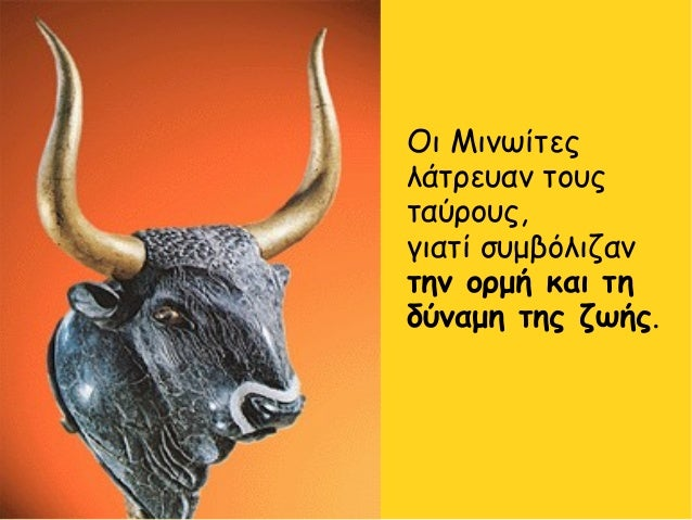 Οι Μινωίτες λάτρευαν τους ταύρους, γιατί συμβόλιζαν την ορμή και τη δύναμη της ζωής.