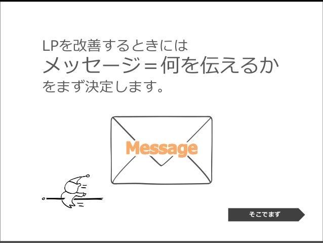 LPを改善するときには メッセージ=何を伝えるか をまず決定します。 そこでまず