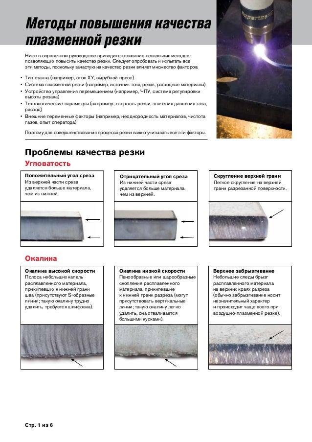 Стр. 1 из 6 Методы повышения качества плазменной резки Ниже в справочном руководстве приводится описание нескольких метод...