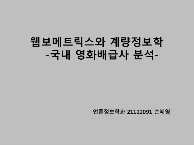 언론정보학과 21122091 손혜영 웹보메트릭스와 계량정보학 -국내 영화배급사 분석-