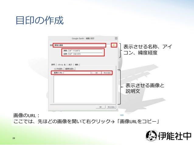 目印の作成 表示させる名称、アイ コン、緯度経度 表示させる画像と 説明文 画像のURL: ここでは、先ほどの画像を開いて右クリック→「画像URLをコピー」 28