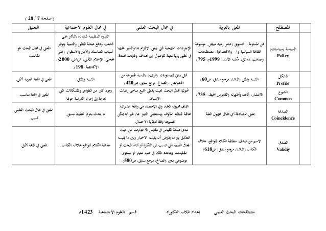 (صفحة7/28) الع البحث مصطلحاتإعداد لميالدكتوراه طالباالجتماعية العلوم : قسم3241ـه املصطلحبية...