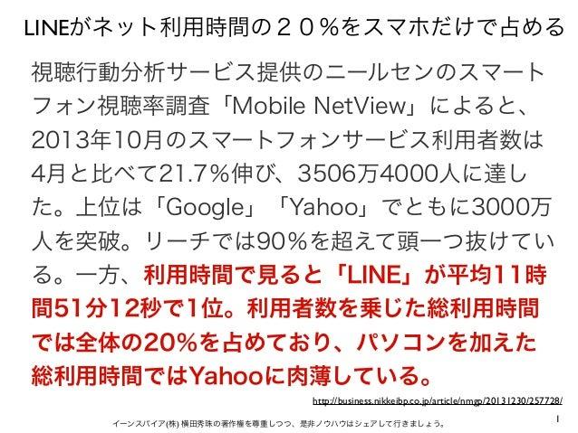 1イーンスパイア(株) 横田秀珠の著作権を尊重しつつ、是非ノウハウはシェアして行きましょう。 LINEがネット利用時間の20%をスマホだけで占める 視聴行動分析サービス提供のニールセンのスマート フォン視聴率調査「Mobile NetView」...
