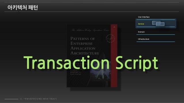 44 / 객체지향적인 도메인 레이어 구축하기 Transaction Script 아키텍처 패턴 User Interface Service Domain Infrastructure
