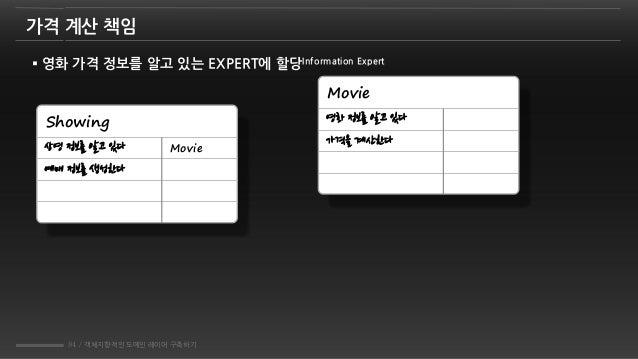 84 / 객체지향적인 도메인 레이어 구축하기 가격 계산 책임  영화 가격 정보를 알고 있는 EXPERT에 할당Information Expert Showing 상영 정보를 알고 있다 예매 정보를 생성한다 Movie Mo...