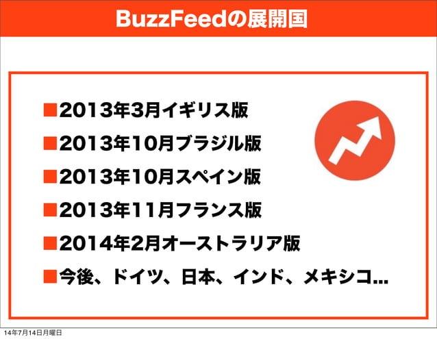 BuzzFeedの展開国 ■2013年3月イギリス版 ■2013年10月ブラジル版 ■2013年10月スペイン版 ■2013年11月フランス版 ■2014年2月オーストラリア版 ■今後、ドイツ、日本、インド、メキシコ... 14年7月14日月曜日