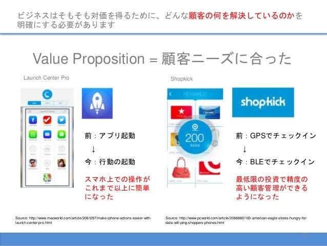ビジネスはそもそも対価を得るために、どんな顧客の何を解決しているのかを 明確にする必要があります Value Proposition = 顧客ニーズに合った Source: http://www.pcworld.com/article/2088...