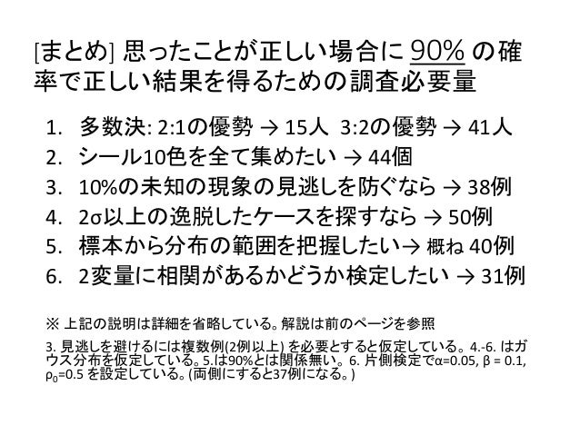 [まとめ] 思ったことが正しい場合に 90% の確 率で正しい結果を得るための調査必要量 1. 多数決: 2:1の優勢 → 15人 3:2の優勢 → 41人 2. シール10色を全て集めたい → 44個 3. 10%の未知の現象の見逃しを防ぐな...