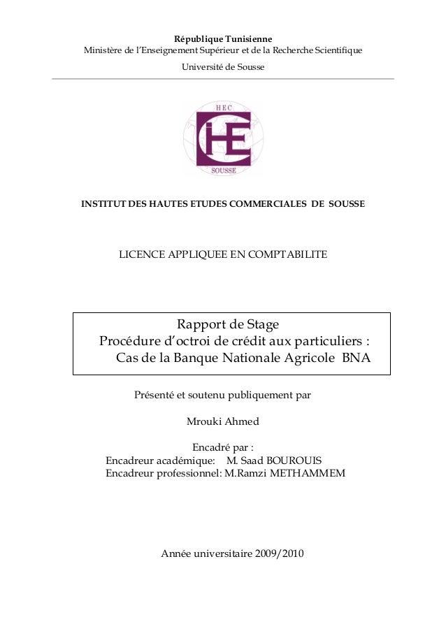 République Tunisienne Ministère de l'Enseignement Supérieur et de la Recherche Scientifique Université de Sousse INSTITUT ...