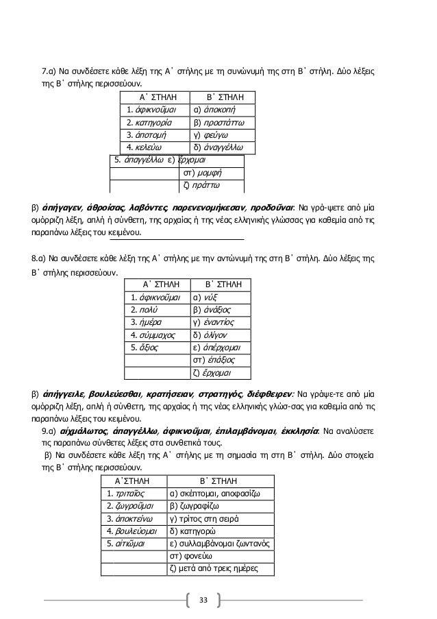 33 7.α) Να συνδέσετε κάθε λέξη της Α΄ στήλης με τη συνώνυμή της στη Β΄ στήλη. Δύο λέξεις της Β΄ στήλης περισσεύουν. Α΄ ΣΤΗ...