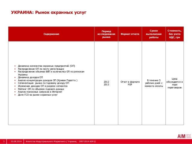 УКРАИНА: Рынок охранных услуг  Содержание  Период  исследования  рынка  Формат отчета  Сроки  выполнения  работы  Стоимост...