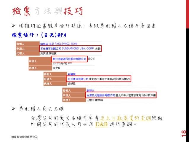 檢索方法與技巧 博盛智權管理顧問公司 18  複雜的企業競爭合作關係,導致專利權人名稱不易固定 檢索條件:(日光)@PA  專利權人英文名稱 台灣公司的英文名稱可參考進出口廠商資料查詢網站 外國公司的代表人可以用 D&B 進行查詢。