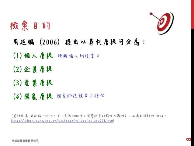 周延鵬 (2006) 提出以專利層級可分為: (1)個人層級 (2)企業層級 (3)產業層級 (4)國家層級 (資料來源:周延鵬,2006,《一堂課2000億:智慧財產的戰略及戰術》,工商財經數位 出版。 http://cdnet.stpi.o...