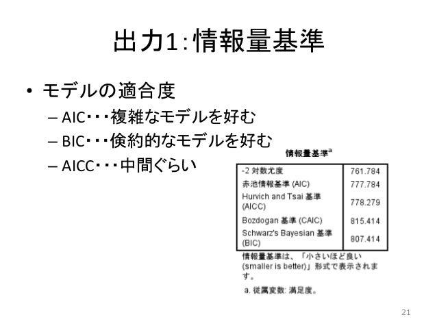 出力1:情報量基準 • モデルの適合度 – AIC・・・複雑なモデルを好む – BIC・・・倹約的なモデルを好む – AICC・・・中間ぐらい 21