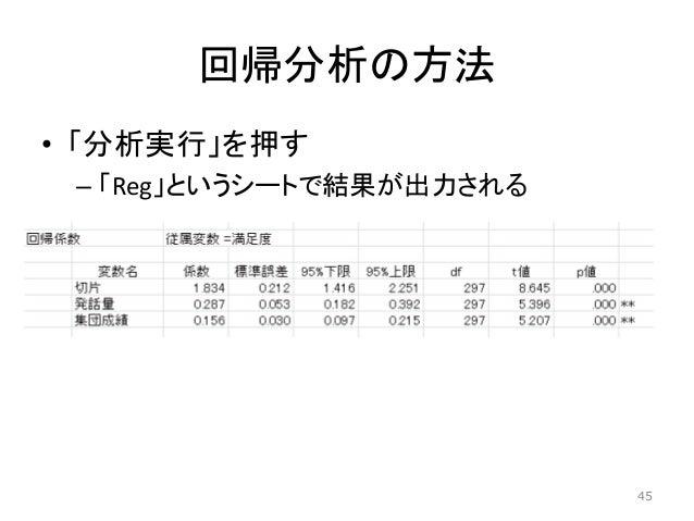 回帰分析の方法 • 「分析実行」を押す – 「Reg」というシートで結果が出力される 45