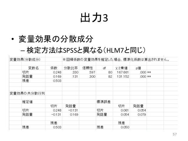 出力3 • 変量効果の分散成分 – 検定方法はSPSSと異なる(HLM7と同じ) 57