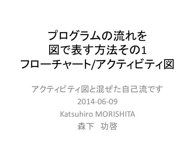 プログラムの流れを  図で表す方法その1  フローチャート/アクティビティ図  アクティビティ図と混ぜた自己流です  2014-06-09  Katsuhiro MORISHITA  森下功啓