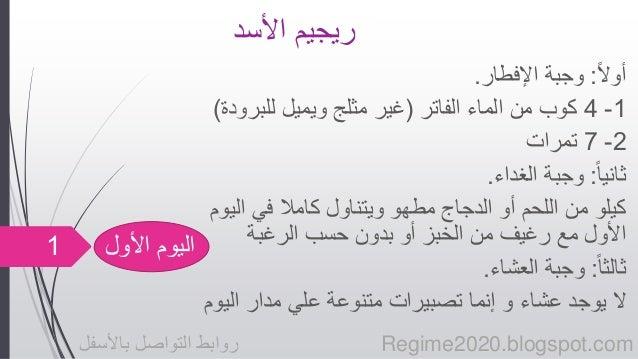 ريجيم الأسد أول ا: وجبة الإفطار.