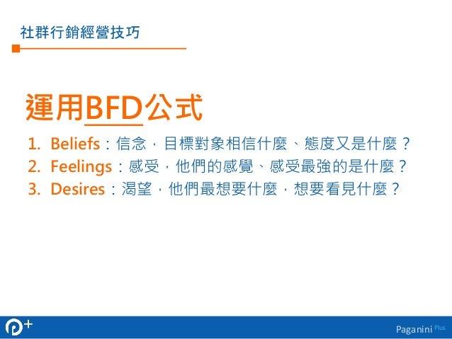 運用BFD公式  1. Beliefs:信念,目標對象相信什麼、態度又是什麼?  2. Feelings:感受,他們的感覺、感受最強的是什麼?  3. Desires:渴望,他們最想要什麼,想要看見什麼?  Paganini Plus  社群行...