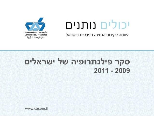 סקר פילנתרופיה של ישראלים  www.ctg.org.il  2011 - 2009