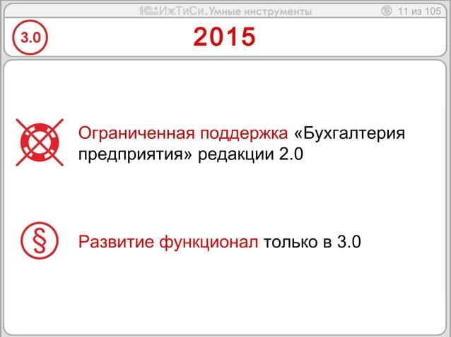 11 из 105  2015  Ограниченная поддержка «Бухгалтерия  предприятия» редакции 2.0  Развитие функционал только в 3.0