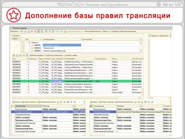84 из 105  Дополнение базы правил трансляции