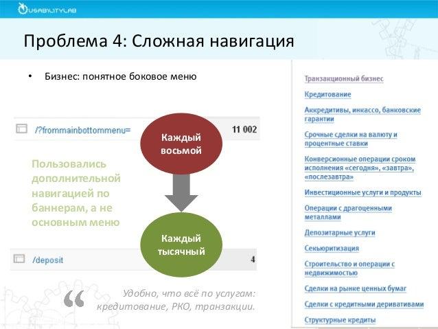 •Бизнес: понятное боковое меню  Проблема 4: Сложная навигация  Удобно, что всё по услугам: кредитование, РКО, транзакции. ...