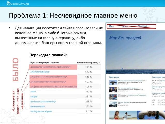•Для навигации посетители сайта использовали не основное меню, а либо быстрые ссылки, вынесенные на главную страницу, либо...