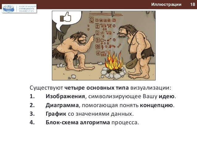 Иллюстрации 18  Существуют четыре основных типа визуализации:  1. Изображения, символизирующее Вашу идею.  2. Диаграмма, п...