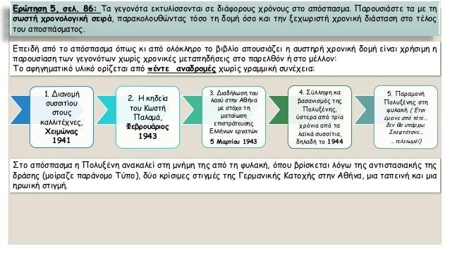 Ερώτηση5,σελ.86:Ταγεγονόταεκτυλίσσονταισεδιάφορουςχρόνουςστοαπόσπασμα.Παρουσιάστεταμετησωστήχρονολογικήσειρά,παρακολουθώντ...