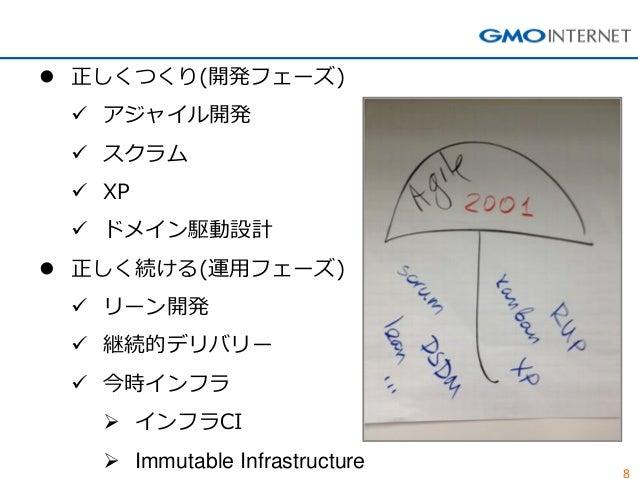 8  正しくつくり(開発フェーズ)  アジャイル開発  スクラム  XP  ドメイン駆動設計  正しく続ける(運用フェーズ)  リーン開発  継続的デリバリー  今時インフラ  インフラCI  Immutable Infr...