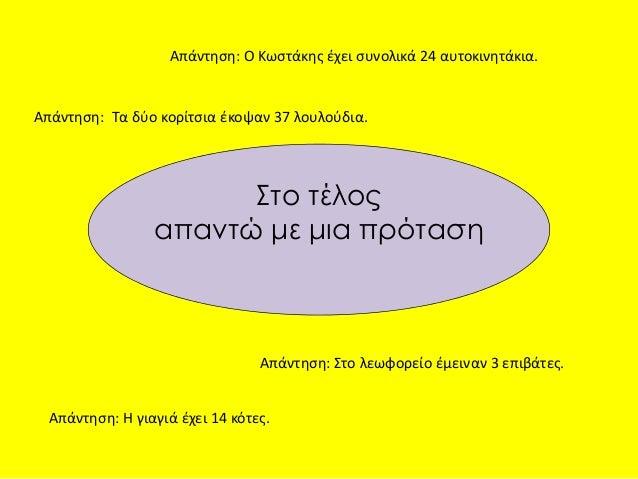 Απάντηση: Ο Κωστάκης έχει συνολικά 24 αυτοκινητάκια.  Απάντηση: Τα δύο κορίτσια έκοψαν 37 λουλούδια.  Στο τέλος  απαντώ με...