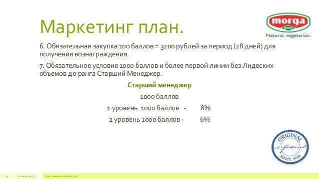 Маркетинг план.  6. Обязательная закупка 100 баллов = 3200 рублей за период (28 дней) для  получения вознаграждения.  7. О...