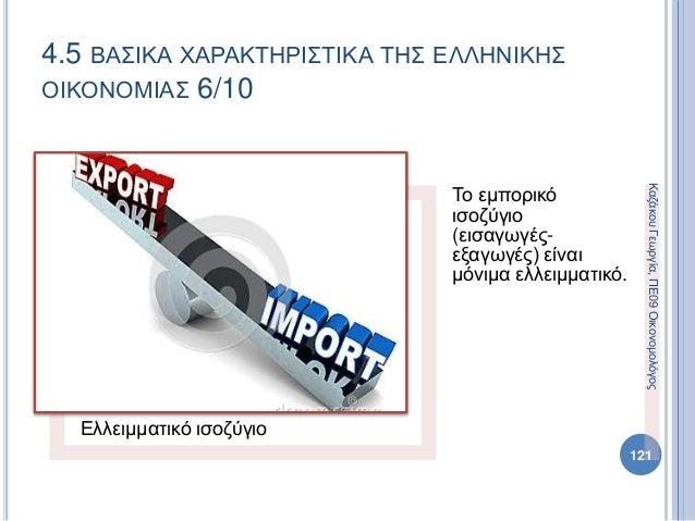Ελλειμματικό ισοζύγιο Το εμπορικό ισοζύγιο (εισαγωγές- εξαγωγές) είναι μόνιμα ελλειμματικό. 121 4.5 ΒΑΣΙΚΑ ΧΑΡΑΚΤΗΡΙΣΤΙΚΑ ...