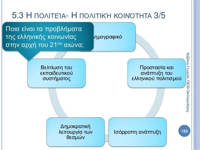 Δημογραφικό Προστασία και ανάπτυξη του ελληνικού πολιτισμού Ισόρροπη ανάπτυξη Δημοκρατική λειτουργία των θεσμών Βελτίωση τ...