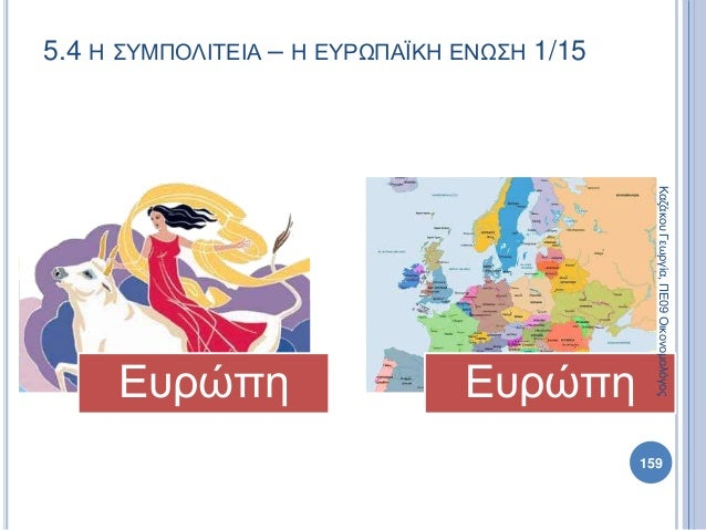 5.4 Η ΣΥΜΠΟΛΙΤΕΙΑ – Η ΕΥΡΩΠΑΪΚΗ ΕΝΩΣΗ 1/15 Ευρώπη Ευρώπη ΚαζάκουΓεωργία,ΠΕ09Οικονομολόγος 159