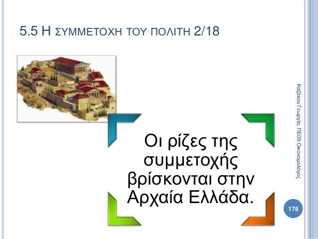 Οι ρίζες της συμμετοχής βρίσκονται στην Αρχαία Ελλάδα. 176 ΚαζάκουΓεωργία,ΠΕ09Οικονομολόγος 5.5 Η ΣΥΜΜΕΤΟΧΗ ΤΟΥ ΠΟΛΙΤΗ 2/18