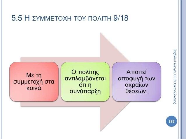 Με τη συμμετοχή στα κοινά Ο πολίτης αντιλαμβάνεται ότι η συνύπαρξη Απαιτεί αποφυγή των ακραίων θέσεων. 183 ΚαζάκουΓεωργία,...
