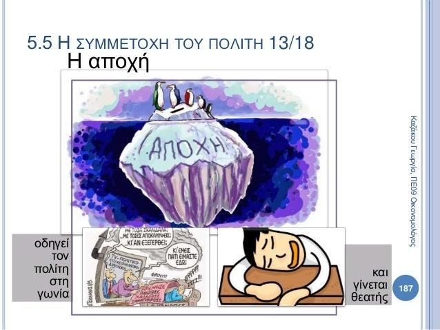 Η αποχή οδηγεί τον πολίτη στη γωνία και γίνεται θεατής 187 ΚαζάκουΓεωργία,ΠΕ09Οικονομολόγος 5.5 Η ΣΥΜΜΕΤΟΧΗ ΤΟΥ ΠΟΛΙΤΗ 13/...