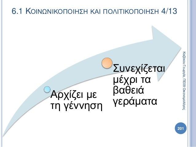 Αρχίζει με τη γέννηση Συνεχίζεται μέχρι τα βαθειά γεράματα ΚαζάκουΓεωργία,ΠΕ09Οικονομολόγος 201 6.1 ΚΟΙΝΩΝΙΚΟΠΟΙΗΣΗ ΚΑΙ ΠΟ...