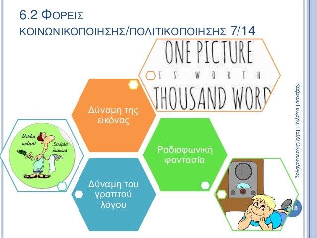 Δύναμη του γραπτού λόγου Ραδιοφωνική φαντασία Δύναμη της εικόνας 218 ΚαζάκουΓεωργία,ΠΕ09Οικονομολόγος 6.2 ΦΟΡΕΙΣ ΚΟΙΝΩΝΙΚΟ...