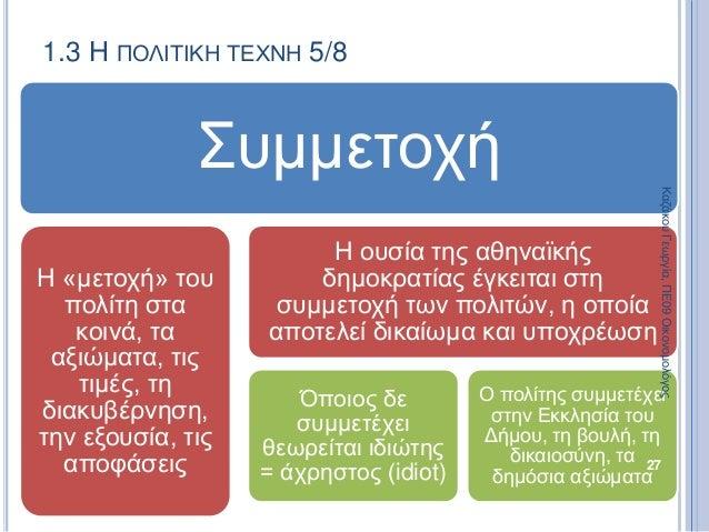1.3 Η ΠΟΛΙΤΙΚΗ ΤΕΧΝΗ 5/8 Συμμετοχή Η «μετοχή» του πολίτη στα κοινά, τα αξιώματα, τις τιμές, τη διακυβέρνηση, την εξουσία, ...