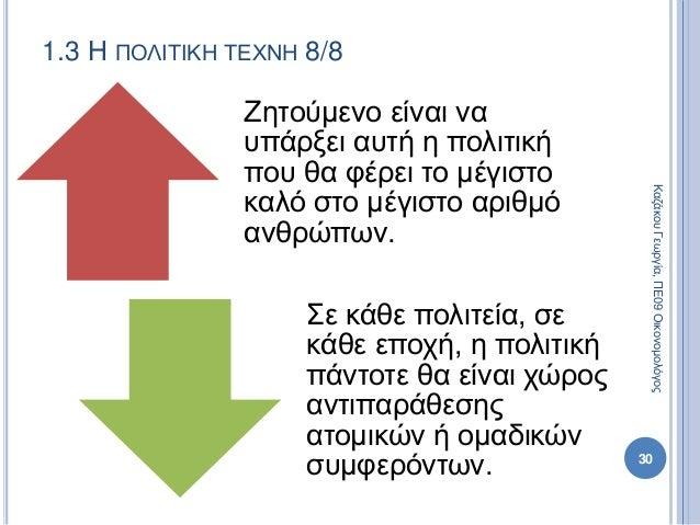 1.3 Η ΠΟΛΙΤΙΚΗ ΤΕΧΝΗ 8/8 Ζητούμενο είναι να υπάρξει αυτή η πολιτική που θα φέρει το μέγιστο καλό στο μέγιστο αριθμό ανθρώπ...