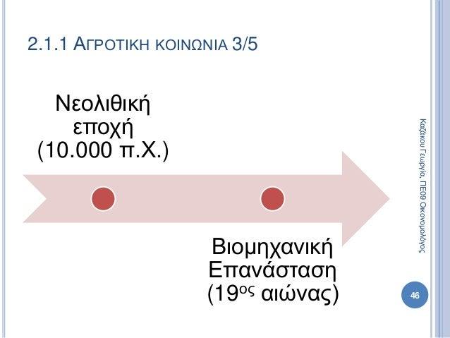 Νεολιθική εποχή (10.000 π.Χ.) Βιομηχανική Επανάσταση (19ος αιώνας) 46 2.1.1 ΑΓΡΟΤΙΚΗ ΚΟΙΝΩΝΙΑ 3/5 ΚαζάκουΓεωργία,ΠΕ09Οικον...