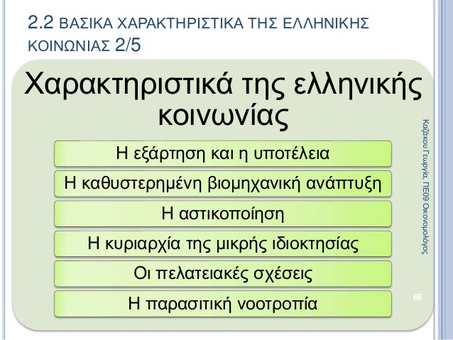 Χαρακτηριστικά της ελληνικής κοινωνίας Η εξάρτηση και η υποτέλεια Η καθυστερημένη βιομηχανική ανάπτυξη Η αστικοποίηση Η κυ...
